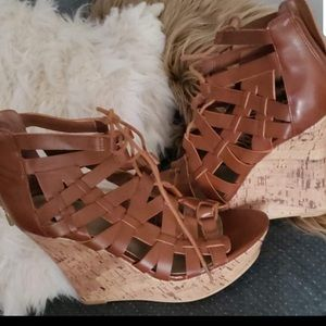 Guess Lace Up Wedge Sandals Size 8
